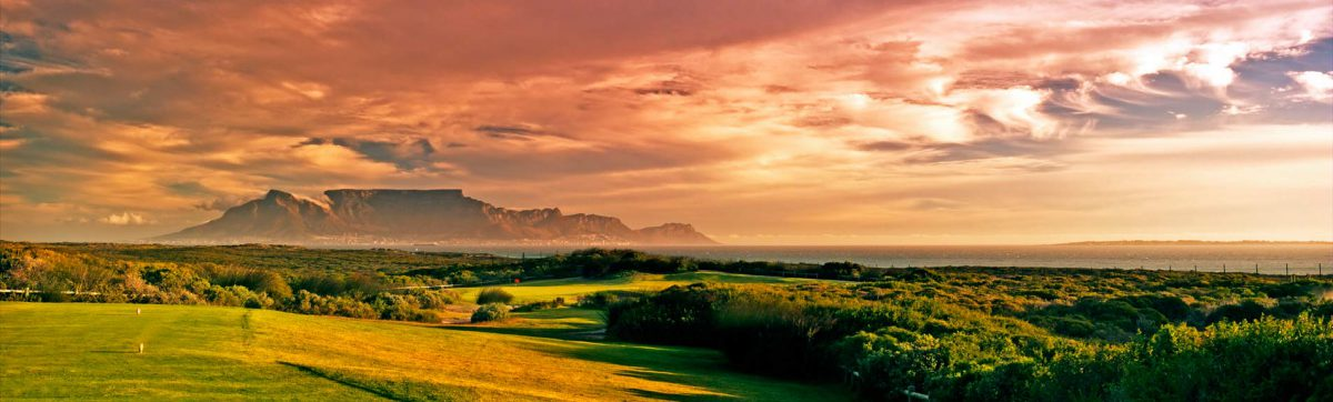 Sunset over Table Mountain and Atlantic Beach golf course.
