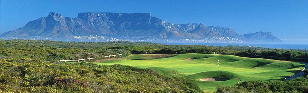 Views across the signature green at Atlantic Beach to Table Mountain