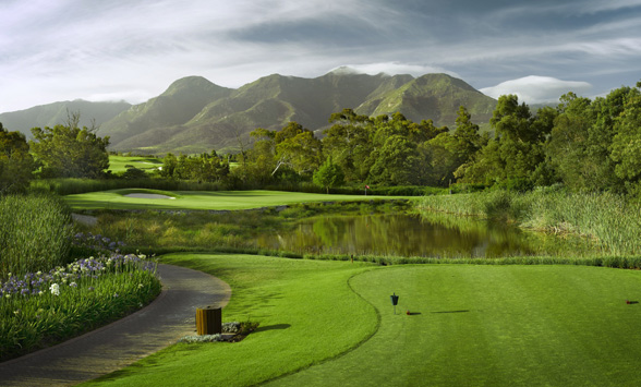 view from the tee box of the 8th green at Fancourt.