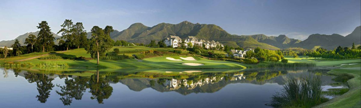 view across the lake to the golf course at Fancourt.