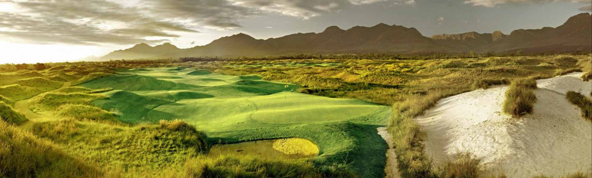 Fancourt Links fairways with Outeniqua Mountains in back ground.