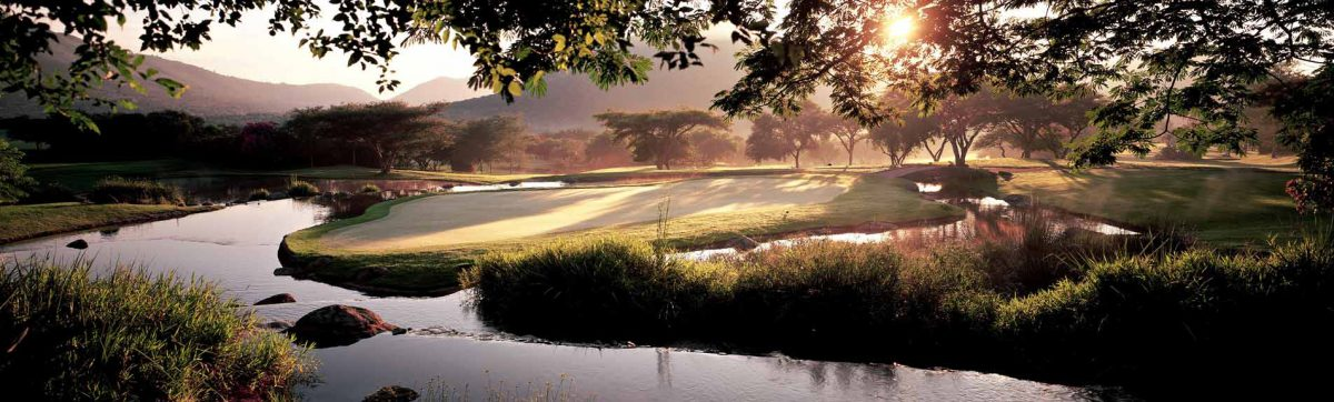 sun rise over the golf green at The Gary Player Country Club Course, Sun City.