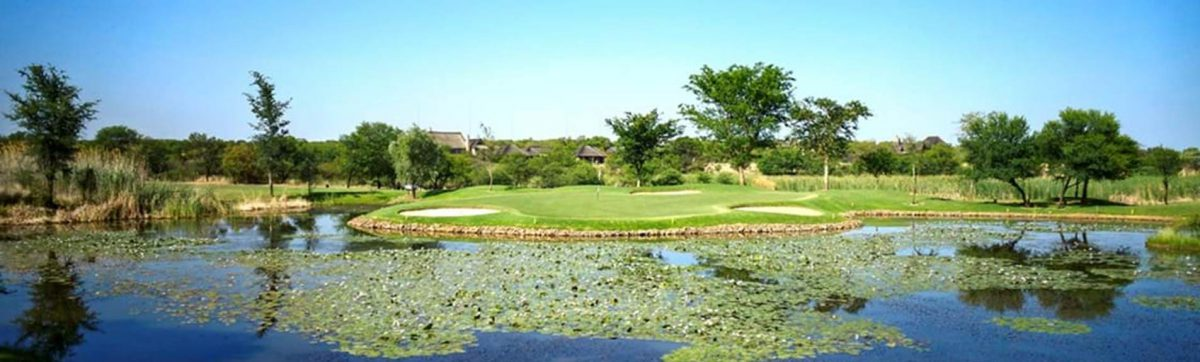 view across the water on a par 3 hole at Zebula golf club.