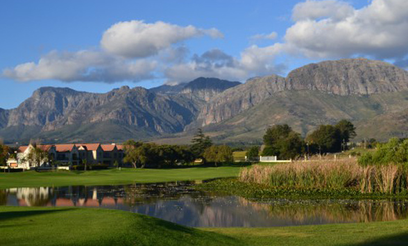Mountains and lakes surround the golf course at Paarl.