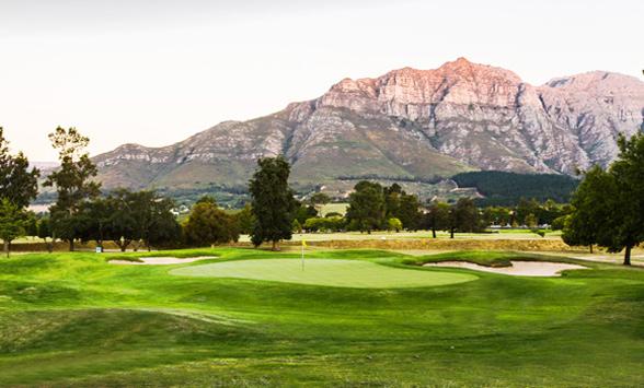 Evening sunlight on the Simonsberg Mountains seen from Stellenbosch Golf Club.