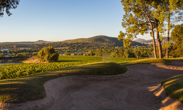 Long shadows over the fairways at Stellenbosch Golf Club.