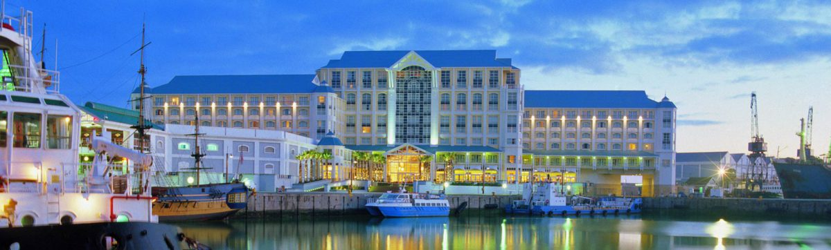 Reflections of the Table Bay Hotel in the water of the V&A Waterfront.