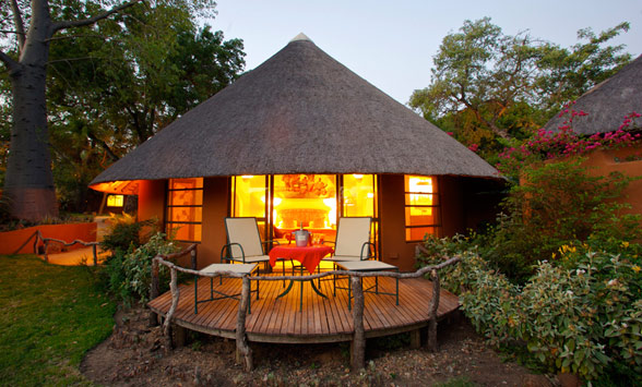 Nightfall in the Kruger as the lights go on in the suites at Malamala.