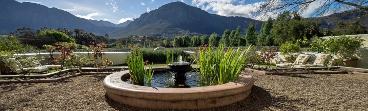 Fountain and mountain views from Auberge Claremont in Franschhoek