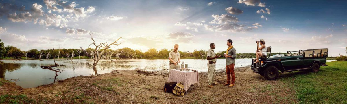 Sundowner drinks stop on a safari game drive