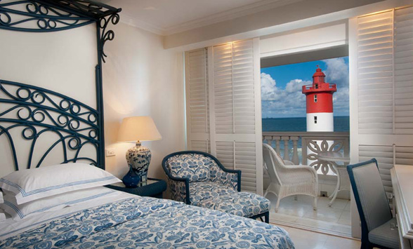 View from a bedroom for the Oyster Box Hotel of the Umhlanga Rocks Lighthouse.
