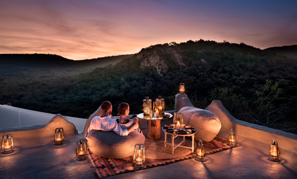 Romantic sunset on the deck at Phinda Rock Lodge.