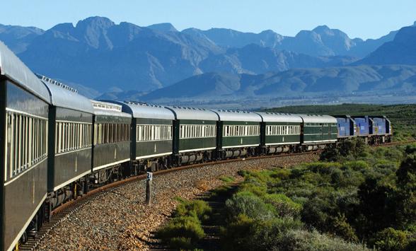 Rovos Rail train passing the Outeniqua Mountains.