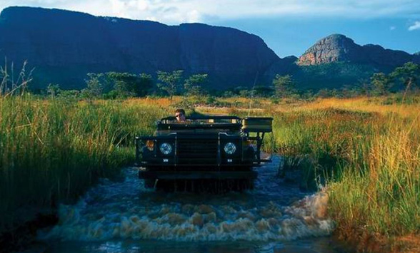 Early morning game drive crossing through a river.