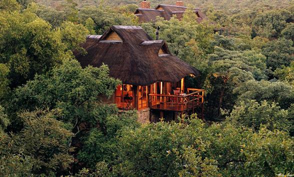 Makweti safari lodge building hidden in the bush veld.