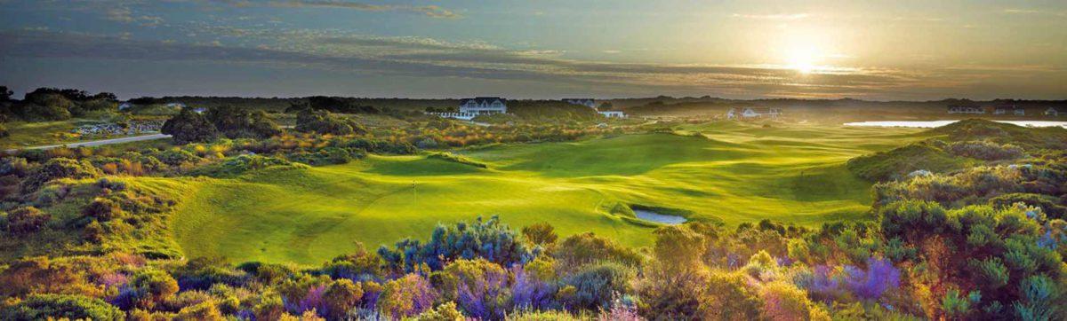 Sun rise over the St Francis links golf club fairway.