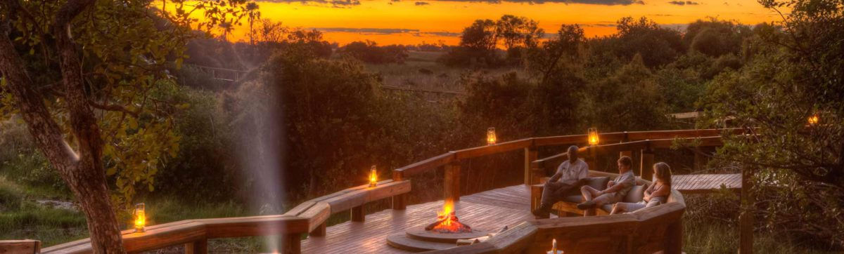 romance and sunset from the deck at Camp Okavango