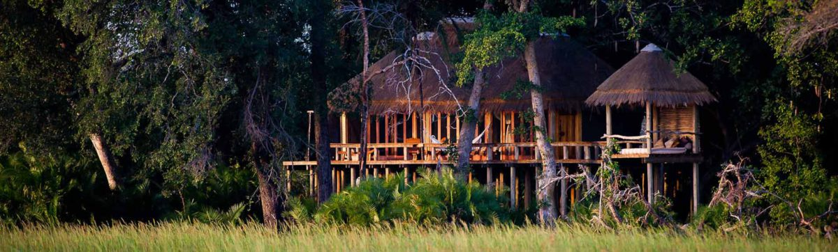 Jao Camp exterior on wooden stilts above the delta flood plains.