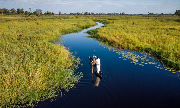lone mokoro canoe making its way along the channel of the Okavango Delta.