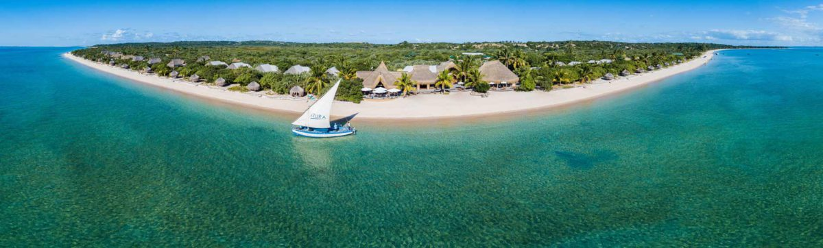 fish eye view of the Benguerra Island in the Bazaruto Archipelago.