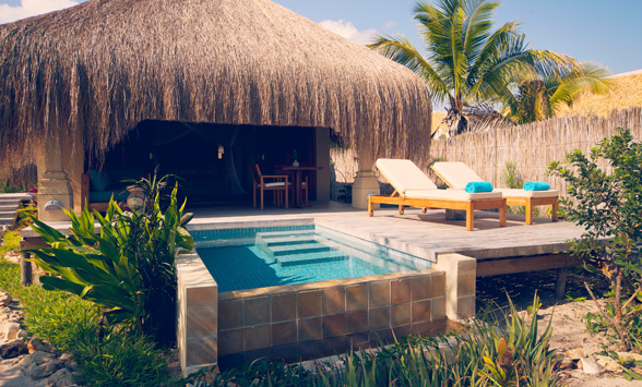 private pool and deck at Azura Benguerra Lodge.
