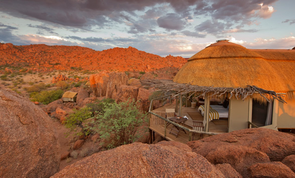 dome shaped suite blending with he surrounding boulders and landscape at Mowani Mountain Lodge