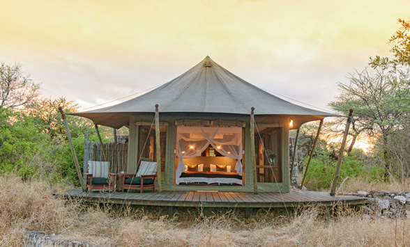 Luxury tent standing alone in the bush at Onguma.