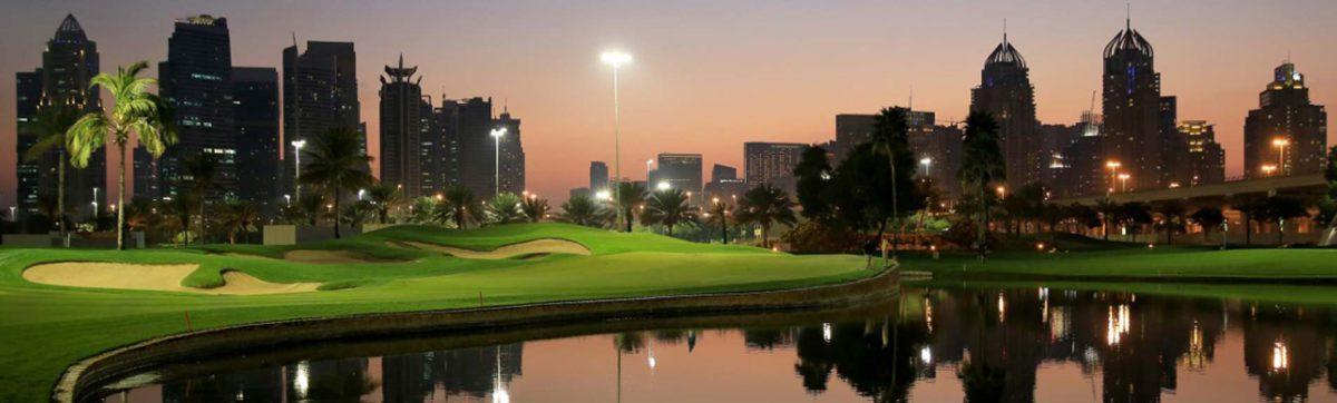 floodlit final hole at the Faldo Course in Dubai.