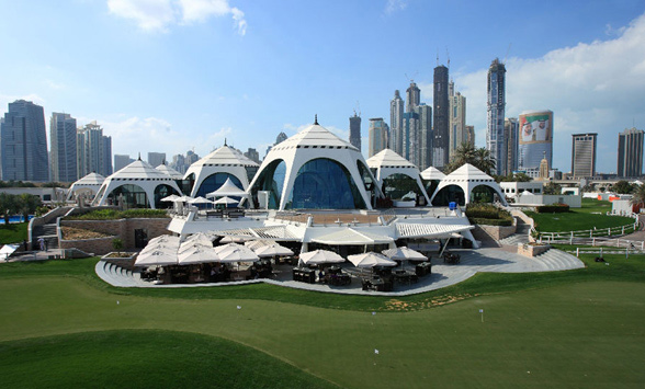 Iconic Majlis buildings in the Emirates golf club.