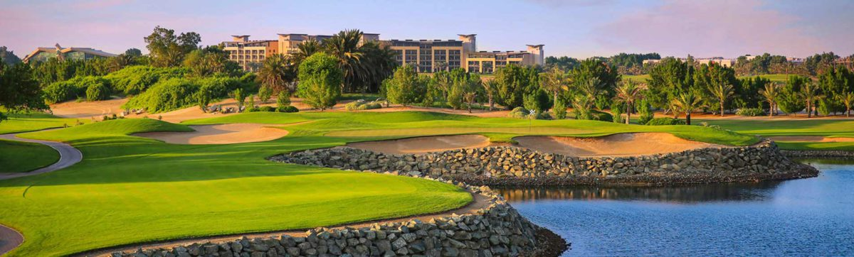 Lakes and fairways of the Abu Dhabi Golf Club.