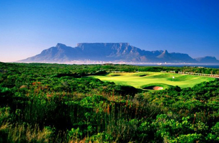 signature hole at Atlantic Beach with views across table bay to Table Mountain.