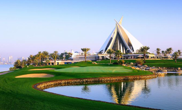 final fairways nd green of the Dubai Creek Golf Course.