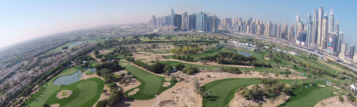 Paroramic view of the Emirates Golf Club on the edge of the city.