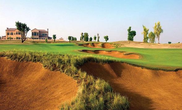 deep sand bunker hazards on the golf course at Jumeirah Fire.