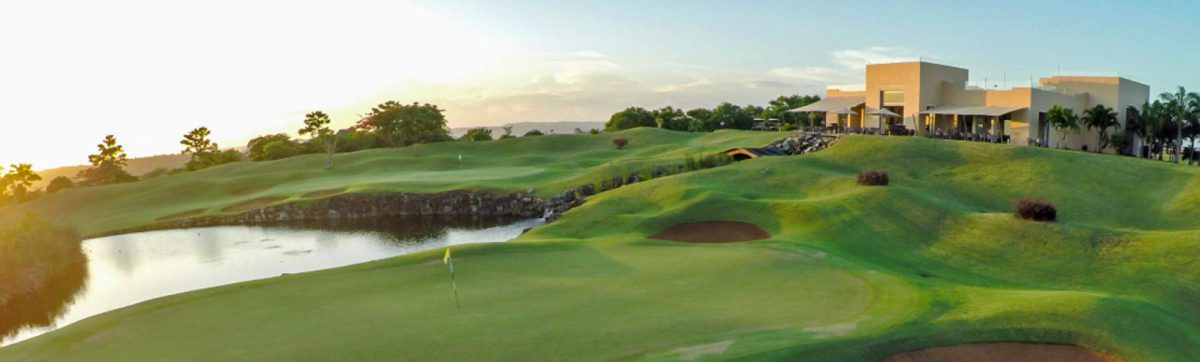 Sunrise over the 18th green and fairways at a golf course near Mombasa.