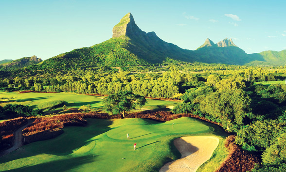 views across the golf course in Mauritius to Sugar Mountain.