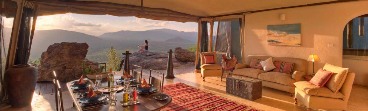 views of the samburu land in Kenya from a luxury safari camp.