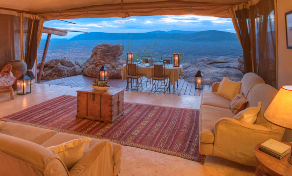 Samburu reserve views, luxury safari lodge.
