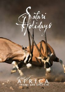E brochure cover for Out of Africa safari holidays